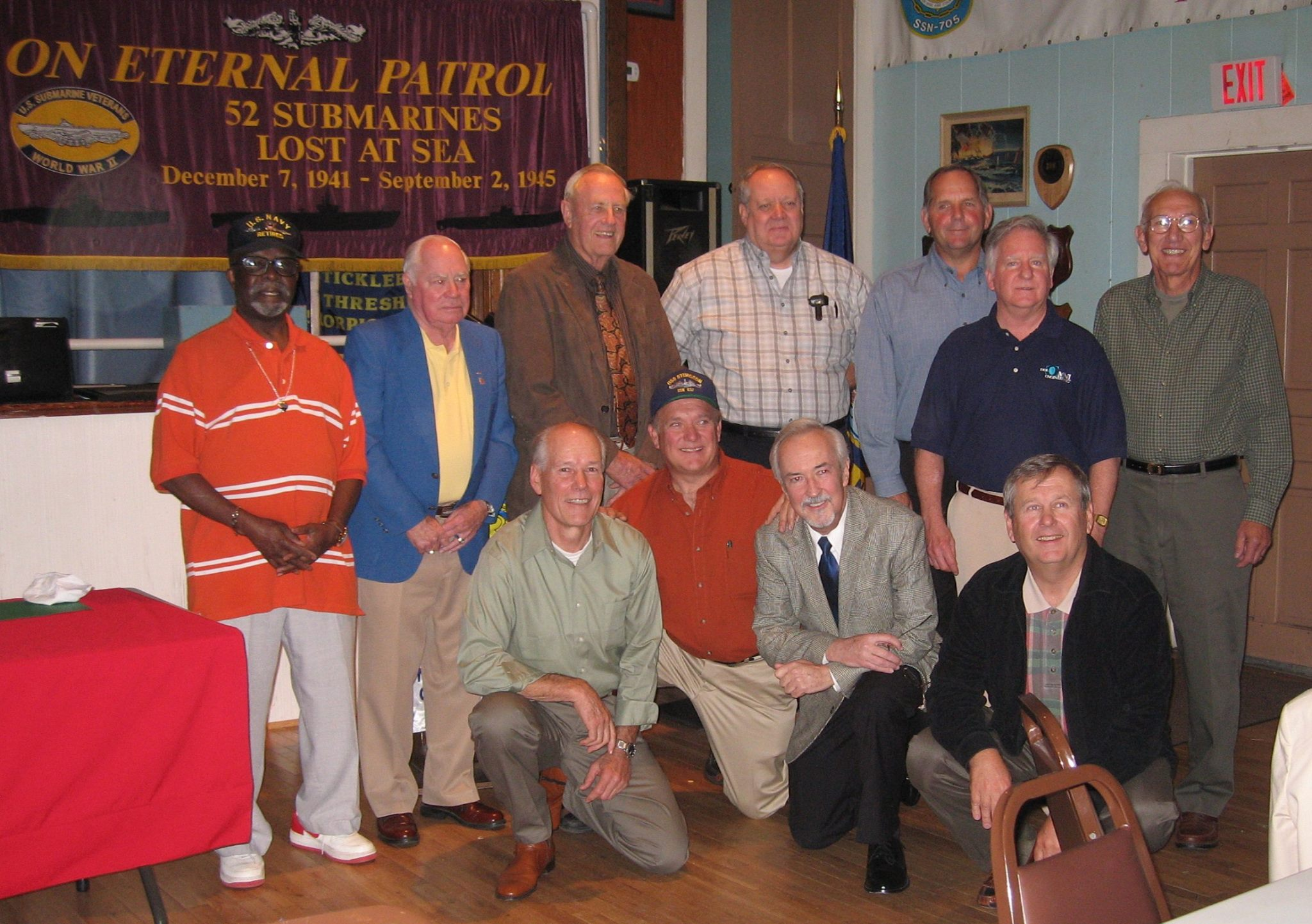 This photo was taken at the NSL Luncheon at the Subvets in October 2008 when the book came out. L to R (back row) Head Steward Emmanuel Howard, COB Bill Welsh, Capt. Bohannan, Ken Schack, Mike Reynolds, Thom Keaney, Bob Gustafson, (Front Row)...Bill Drake, Dennis Cloutier, Gannon McHale, Dan Ottinger